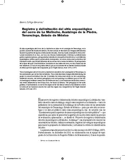 Registro y delimitación del sitio arqueológico del cerro de La Malinche, Acatzingo de la Piedra, Tenancingo, Estado de México