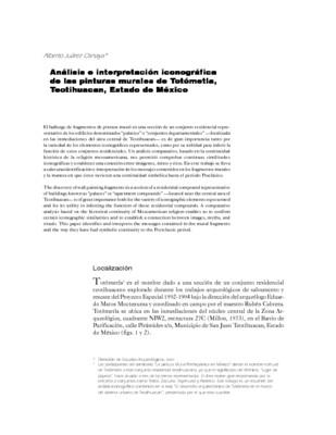 Análisis e interpretación iconográfica de las pinturas murales de Totómetla, Teotihuacan, Estado de México