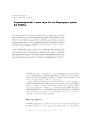 Arqueología del curso bajo del río Papagayo: presa La Parota