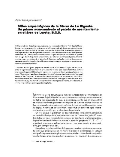 Sitios arqueológicos de la Sierra de La Giganta. Un primer acercamiento al patrón de asentamiento en el área de Loreto, B.C.S.