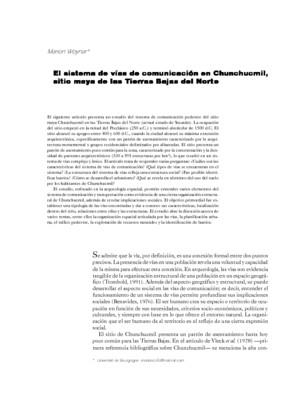 El sistema de vías de comunicación en Chunchucmil, sitio maya de las Tierras Bajas del Norte