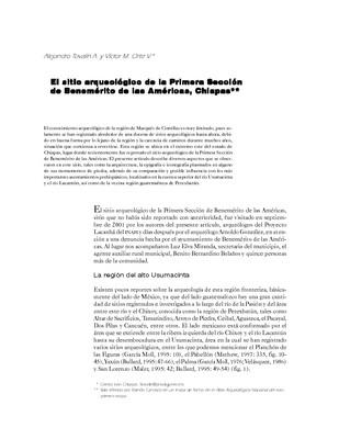 El sitio arqueológico de la Primera Sección de Benemérito de las Américas, Chiapas
