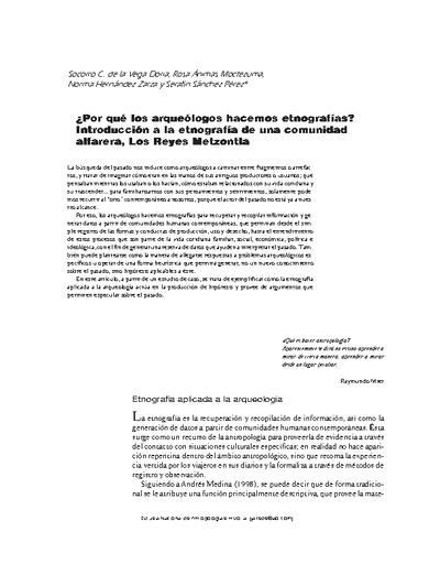 ¿Por qué los arqueólogos hacemos etnografías? Introducción a la etnografía de una comunidad alfarera, Los Reyes Metzontla