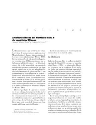 Artefactos líticos del Montículo núm. 5 de Lagartero, Chiapas