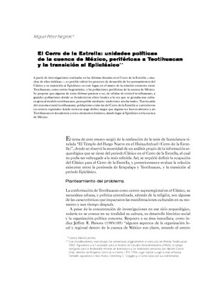 El Cerro de la Estrella: unidades políticas de la cuenca de México, periféricas a Teotihuacan y la transición al Epliclásico