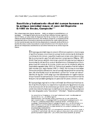 Sacrificio y tratamiento ritual del cuerpo humano en la antigua sociedad maya: el caso del Depósito E-1003 de Becán, Campeche