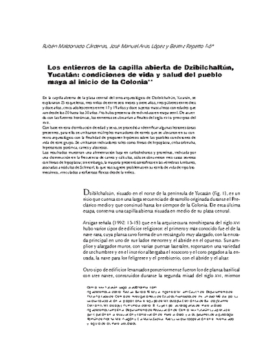 Los entierros de la capilla abierta de Dzibilchaltún, Yucatán: condiciones de vida y salud del pueblo maya al inicio de la Colonia