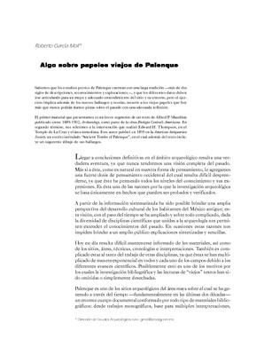 Algo sobre papeles viejos de Palenque