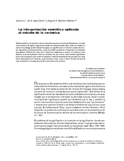 La interpretación semiótica aplicada al estudio de la cerámica