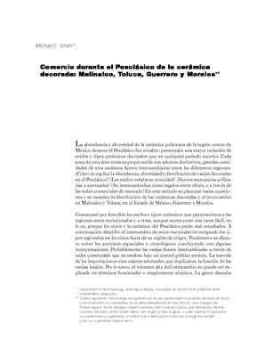 Comercio durante el Posclásico de la cerámica decorada: Malinalco, Toluca, Guerrero y Morelos
