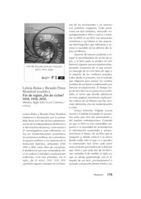 Leticia Reina y Ricardo Pérez Montfort (coords.), Fin de siglos ¿fin de ciclos? 1810, 1910, 2010, México, Siglo XXI/INAH/CIDHEM/CIESAS.