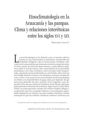 Etnoclimatología en la Araucanía y las pampas. Clima y relaciones interétnicas entre los siglos XVI y XIX