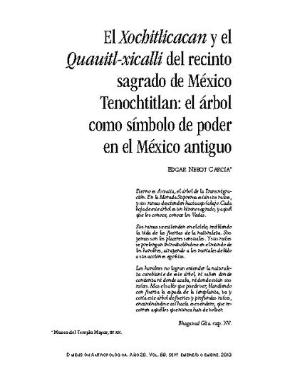 El Xochitlicacan y el Quauitl-xicalli del recinto sagrado de México Tenochtitlan: el árbol como símbolo de poder en el México antiguo