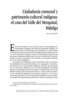 Ciudadanía comunal y patrimonio cultural indígena: el caso del Valle del Mezquital, Hidalgo