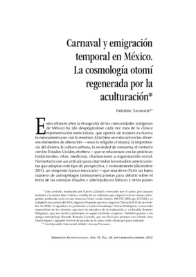 Carnaval y emigración temporal en México. La cosmología otomí regenerada por la aculturación