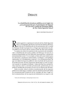 La rehabilitación de plazas públicas en el siglo XXI: ¿una preocupación por el patrimonio del futuro? (El caso de la ciudad de Palenque [2003], de Ma. Estela Eguiarte Sakar)