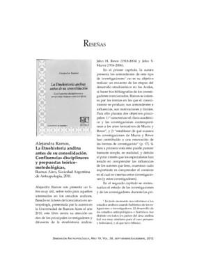 Alejandra Ramos, La Etnohistoria andina antes de su consolidación. Confluencias disciplinares y propuestas teórico-metodológicas, Buenos Aires, Sociedad Argentina de Antropología, 2011.