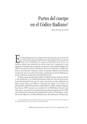 Partes del cuerpo en el Códice Badiano