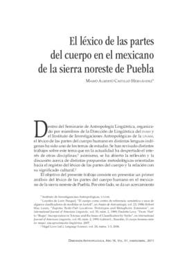 El léxico de las partes del cuerpo en el mexicano de la sierra noreste de Puebla