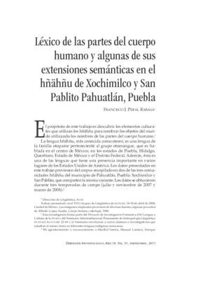 Léxico de las partes del cuerpo humano y algunas de sus extensiones semánticas en el hñähñu de Xochimilco y San Pablito Pahuatlán, Puebla