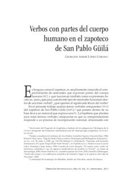 Verbos con partes del cuerpo humano en el zapoteco de San Pablo Güilá