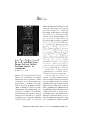 Jean-Pierre Bastien (coord.), La modernidad religiosa: Europa Latina y América Latina en perspectiva comparada, México, FCE, 2004.