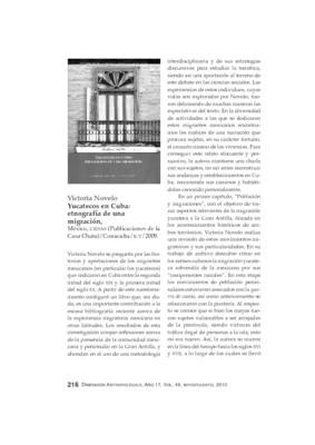 Victoria Novelo, Yucatecos en Cuba: etnografía de una migración, México, CIESAS (Publicaciones de la Casa Chata)/CONACULTA/ICY/2009.
