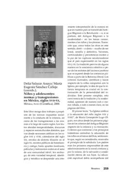 Delia Salazar Anaya/María Eugenia Sánchez Calleja (coords.), Niños y adolescentes: normas y transgresiones en México, siglos XVII-XX, México, INAH (Científica), 2008.