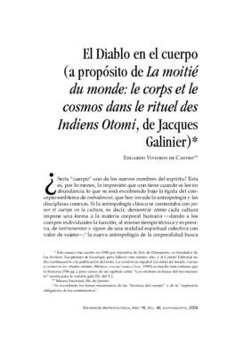 El Diablo en el cuerpo (a propósito de La moitié du monde: le corps et le cosmos dans le rituel des Indiens Otomi, de Jacques Galinier)