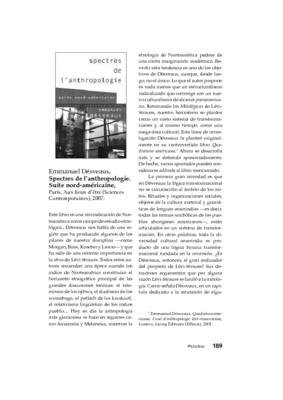 Emmanuel Désveaux, Spectres de l'anthropologie. Suite nord-américaine, París, Aux lieux d'être (Sciences Contemporaines), 2007.