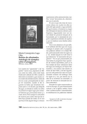 María Concepción Lugo Olín, Relatos de ultratumba. Antología de ejemplos sobre el purgatorio, México, INAH, 2007.