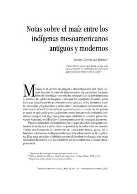 Notas sobre el maíz entre los indígenas mesoamericanos antiguos y modernos