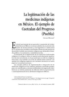 La legitimación de las medicinas indígenas en México. El ejemplo de Cuetzalan del Progreso (Puebla)