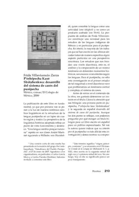 Frida Villavicencio Zarza, P'orhépecha Kaso Sïrátahenkwa: desarrollo del sistema de casos del purépecha, México, CIESAS/El Colegio de México, 2006.