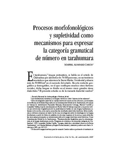 Procesos morfofonológicos y supletividad como mecanismos para expresar la categoría gramatical de número en tarahumara