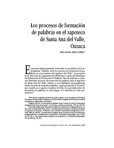 Los procesos de formación de palabras en el zapoteco de Santa Ana del Valle, Oaxaca