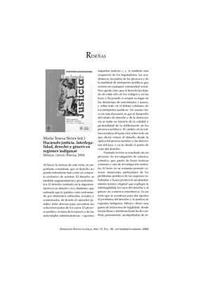 María Teresa Sierra (ed.), Haciendo justicia. Interlegalidad, derecho y género en regiones indígenas, México, CIESAS/Porrúa, 2004.