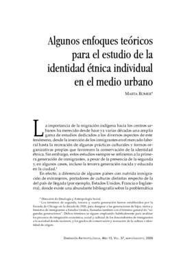 Algunos enfoques teóricos para el estudio de la identidad étnica individual en el medio urbano