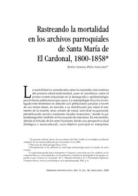 Rastreando la mortalidad en los archivos parroquiales de Santa María de El Cardonal, 1800-1858