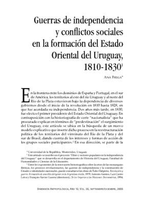 Guerras de independencia y conflictos sociales en la formación del Estado Oriental del Uruguay, 1810-1830