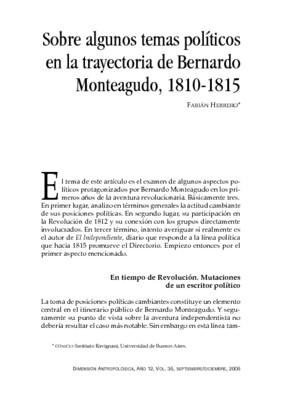 Sobre algunos temas políticos en la trayectoria de Bernardo Monteagudo, 1810-1815