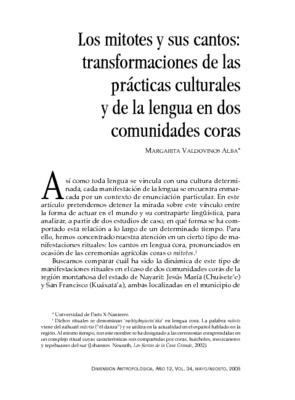 Los mitotes y sus cantos: transformaciones de las prácticas culturales y de la lengua en dos comunidades coras