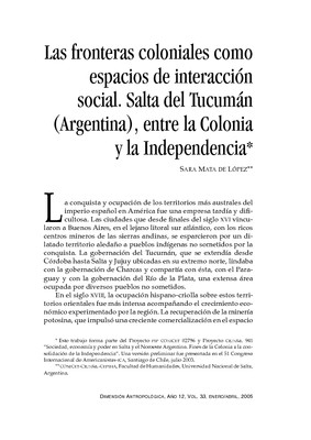 Las fronteras coloniales como espacios de interacción social. Salta del Tucumán (Argentina), entre la Colonia y la Independencia