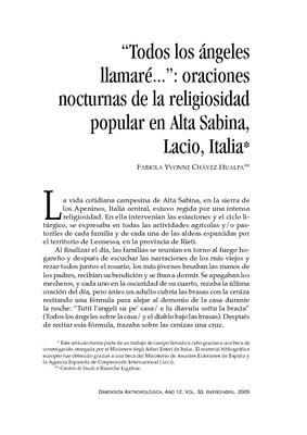 """""""Todos los ángeles llamaré…"""": oraciones nocturnas de la religiosidad popular en Alta Sabina, Lacio, Italia"""