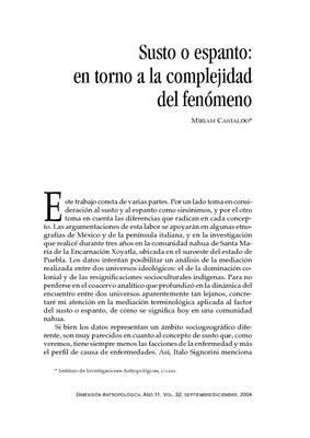 Susto o espanto: en torno a la complejidad del fenómeno