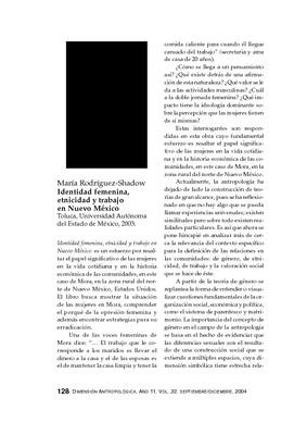 María Rodríguez-Shadow, Identidad femenina, etnicidad y trabajo en Nuevo México, Toluca, Universidad Autónoma del Estado de México, 2003.