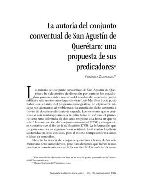 La autoría del conjunto conventual de San Agustín de Querétaro: una propuesta de sus predicadores
