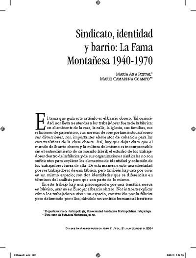 Sindicato, identidad y barrio: La Fama Montañesa 1940-1970