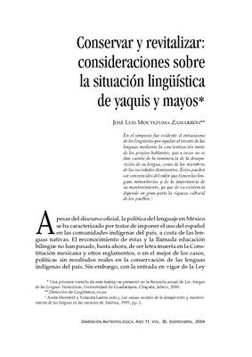 Conservar y revitalizar: consideraciones sobre la situación lingüística de yaquis y mayos