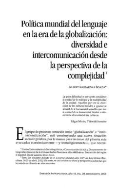 Política mundial del lenguaje en la era de la globalización: diversidad e intercomunicación desde la perspectiva de la complejidad